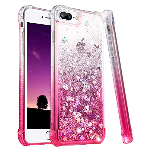 Ruky iPhone 7 Plus Case, iPhone 8 Plus Glitter Case, Gradient Quicksand Series Bling Liquid Floating TPU Bumper Cushion Women Girls Case for iPhone 6 Plus 6s Plus 7 Plus 8 Plus, Gradient Pink