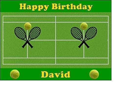 Personalisiert Tennis Essbare Zuckerguss Kuchen Deckel (Rechteckig Einfach Abziehen Zuckerguss)