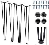 Signstek FF-099 - Juego de 4 patas de mesa vintage de metal con dos barras para el pelo, 70 cm de altura para mesas de café, escritorios modernos, mesitas de noche o sillas