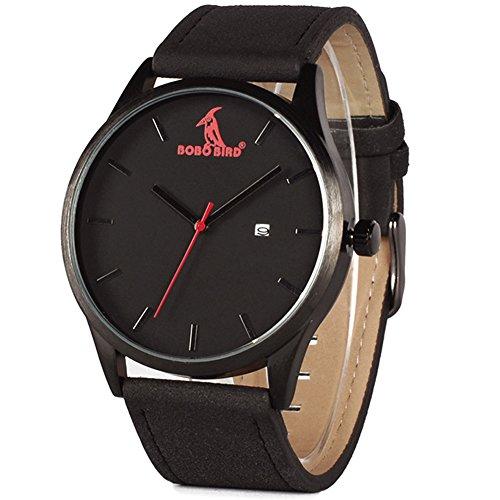 VOEONS Herren-Armbanduhr Datum Quarz Analog Lederarmband-Uhr Schwarz