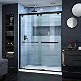 DreamLine Encore 56-60 in. W x 76 in. H Semi-Frameless Bypass Shower Door in Satin Black, SHDR-1660760-09