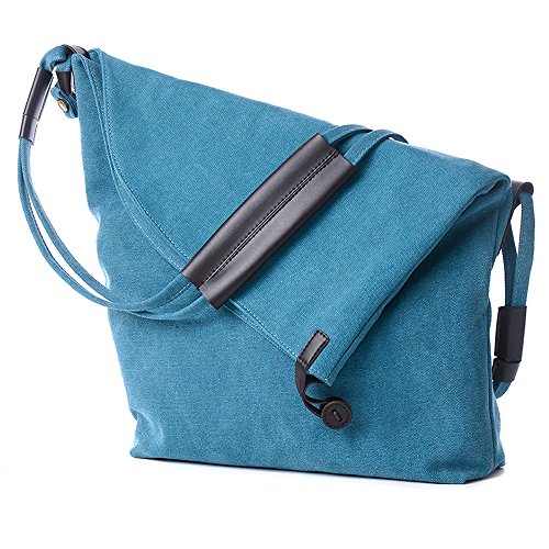 ENKNIGHT Functional Lady's Canvas Large Shoulder Bags Crossbody Shoulder Duffel Messenger Bag for Office School Work Travel and Shopping Blue