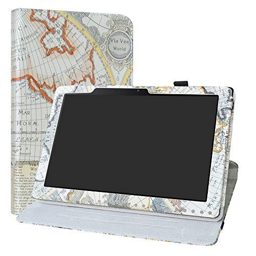 Labanema Acer Iconia One 10 B3-A50 Hülle, 360° Drehbarer Cover Kunstleder Schutzhülle Tasche Etui mit Ständerfunktion für Acer Iconia One 10 B3-A50 10,1 Zoll 2018 Tablet - Map White