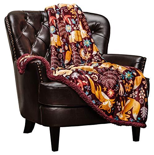 Bernice Winifred Gold Fox Lush Nature Lebendiger Farbdruck Geschenküberwurf Decke - Plüsch Mikrofaserüberwurf zum Geburtstagsgeschenk Kinderbett und Couch Kastanienbraun-Goldfuchs-Blau-Kö(60×50