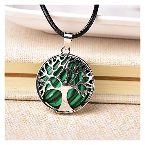 CQHUI 1PC Natural Stone Tree Of Life Quartz Pendulum Pendant Necklace For Women Healing Crystal Necklaces Pendants Reiki Jewelry Gift (Color : Malachite)