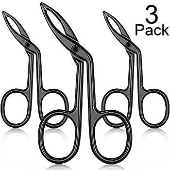 3 Packs Eyebrow Tweezers Scissors Shaped Eyebrow Straight Tip Tweezers Clip Flat Tip Tweezers Hair Plucker Straight Tip Hairgripping Eyebrow  Black Plated
