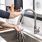Timaco Touch-On-Sensor rubinetto da cucina, in acciaio inox, girevole a 360°, rubinetto da cucina con doccetta estraibile, miscelatore monocomando in nichel spazzolato