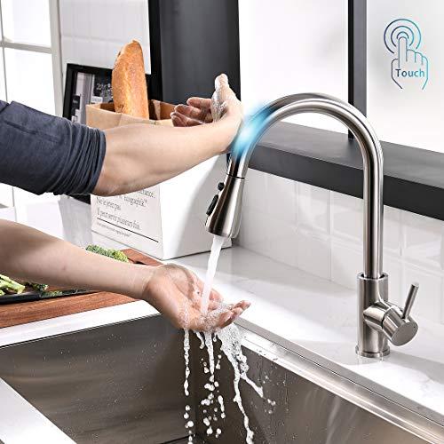 TIMACO Touch-On-Sensor Wasserhahn Küche,Edelstahl 360° Drehbar Küchenarmatur mit Brause ausziehbar Einhand-Mischbatterie Armatur Nickel Gebürstet