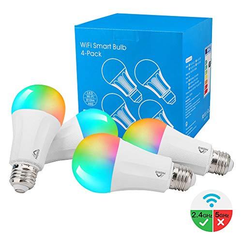 MoKo Smart WLAN Led Lampe, E27 9W Dimmbar Glühbirne Mehrfarbige RGB Licht, WiFi Birne mit APP-Fernbedienung und Sprachsteuerung, Kompatibel mit Alexa Echo Google Home, ohne Hub Benötig - 4 Pack