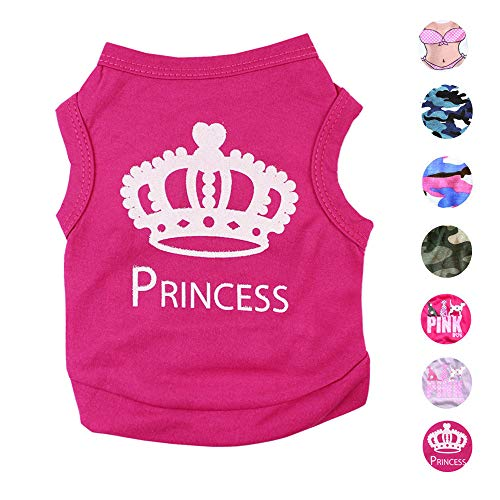 Alroman Dog Fuchsia Shirts Puppy Magenta Vest with Crown Pattern Princess Clothing for Pet Dogs Cats Tee M Puppy Summer T-Shirt Female Girl Doggie Small Clothes Kitten Tank Top Apparel