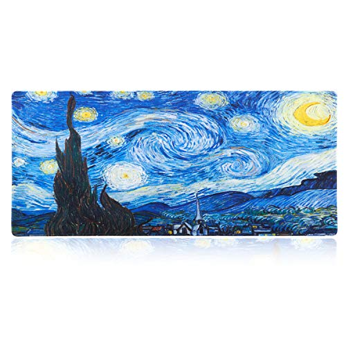 iLeadon Extended Gaming Mouse Pad - Non-Slip Water-Resistant Rubber Base Computer Keyboard Mouse Mat, 35.1 x 15.75-inch 2.5mm Thick XX-Large, Ideal Partner for Work & Game, Starry Night