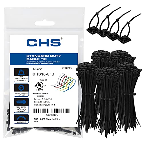 CHS Zip Ties 6 Inch Black , Pack of 205 Pcs ,Multiple-Purpose Ties Wraps, 40 Pounds Tensile Strength Cable Ties, Wire Ties for Home,Office ,Workshop,Garden,and Farm,Etc.
