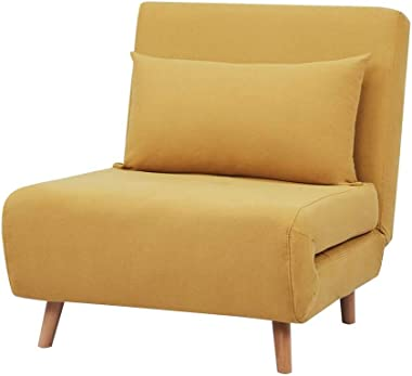 GIA Tri-Fold Sofa Bed, With Pillow, Yellow
