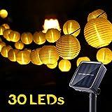 Geemoo Guirlande Solaire Extérieure 6M 30 LED Guirlande Lumineuse Lanterne Blanc Chaud avec 2 Modes & IP65 Imperméable Lampe Decorative Idéal pour Jardin