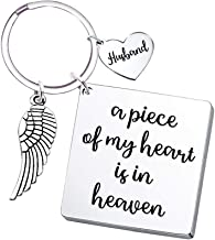 Husband Memorial Keychain Angel Wing- A Piece of My Heart is in Heaven- Remembrance Sympathy Gift