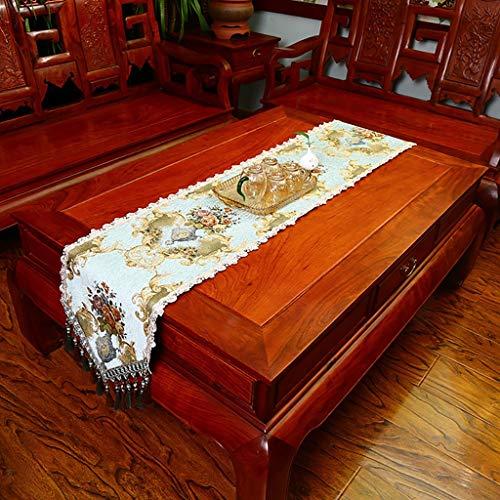 QL Chenille tafelloper meerdere maten chenille jacquard tafelloper voor familie diners of bijeenkomsten dressoir sjaals met multi-kwassen,2 kleuren