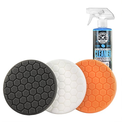 """Chemical Guys HEX_3KIT_5 5.5"""" Buffing Pad Sampler Kit, 4 Items - (1) 16 oz Polishing Pad Cleaner + (3) 5.5"""" Buffing Pads that Work with 5"""" Backing Plates"""