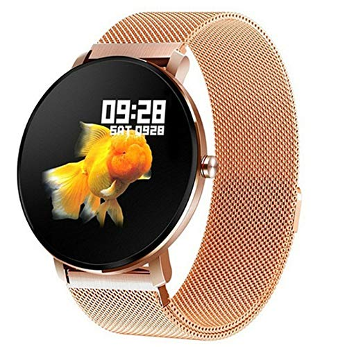 QLK Reloj Inteligente, Hombre Táctil Completo, Deportes Impermeables IP68, Reloj Inteligente, Reloj Femenino Monitor De Salud Rastreador De Fitness Reloj Inteligente,F