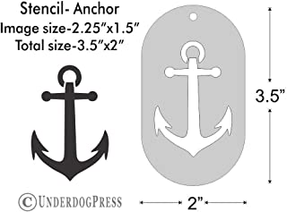 Stencil- Anchor, 2.25x1.5 Inch Image on 3.5x2 Border, Size 1
