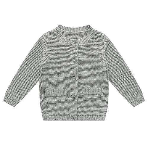 BKN Baby Boy Cardigan Sweater with Decorative Pocket Button up Cotton Gift for Toddlers Gray