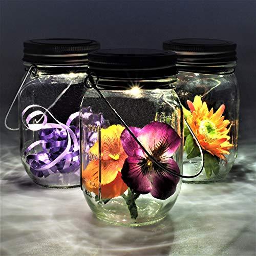 Gadgy ® Solarglas Einmachglas | Set 3 Stück mit 5 LED's | Warmweiß Licht | Solar Lampe für Außen | Garten Laterne