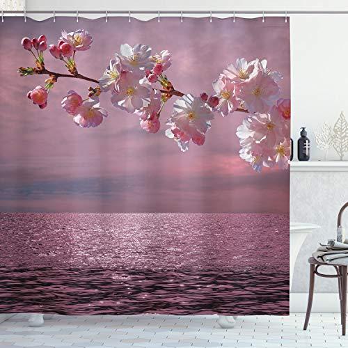 ABAKUHAUS Duschvorhang, Sonnenuntergang über Dem Meer mit Einer amenum & Lupinen Blume Natur Foto Lila Digital Druck, Blickdicht aus Stoff mit 12 Ringen Waschbar Langhaltig Hochwertig, 175 X 200 cm