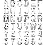 36 Letras y Pegatinas de Números 0-9 de Buzón de 3D Pegatinas Adhesivas de Buzónde Alfabeto Símbolo Pegatinas de Dirección de Calle Buzón de Metal de Casa para Señal de Buzón (2 x 1,2 Pulgadas)