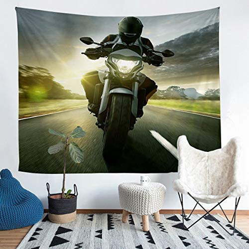 Tapiz para colgar en la pared con diseño deportivo extremo para niños y niñas en 3D de Dirt Bike Decoración de pared Tapiz de estilo de velocidad fresca para dormitorio, sala de estar, XL 152 x 238 cm
