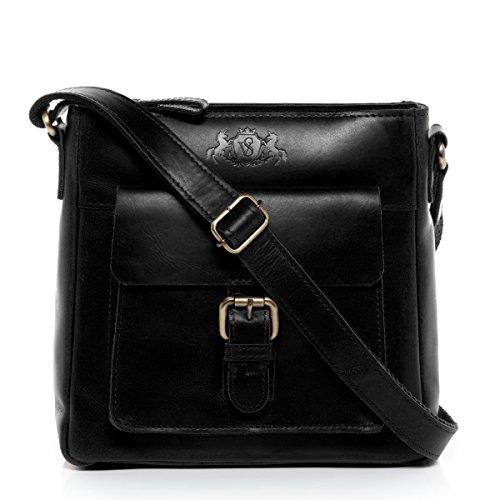 SID & VAIN Schultertasche echt Leder Yale klein Handtasche Schultergurt Umhängetasche Ledertasche Damen schwarz