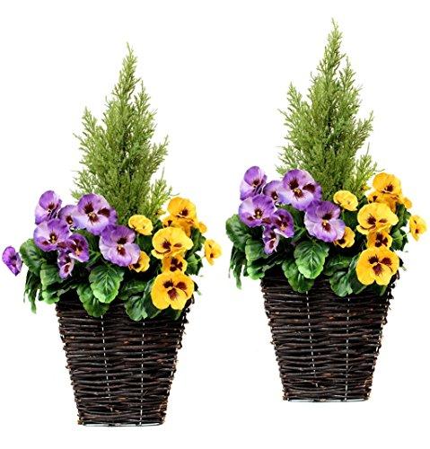 60cm FIORIERA PATIO artificiale con Bianco /& Viola PANSIES /& Cedar topiaria
