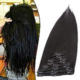 Clip in Extensions Echthaar Haarverlängerung Haarteil 8 teiliges SET Remy Haar Schwarz#1 33 cm (80 g)