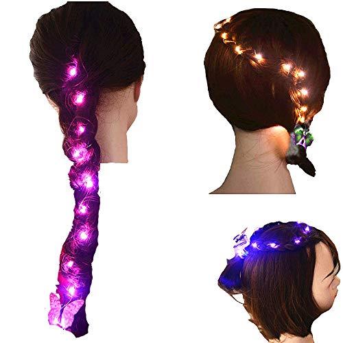 2pcs Girls Glow DIY Hair LED Lights String Blinking Hair Styling Tools Braider Weaving Braids Party Birthday Gift