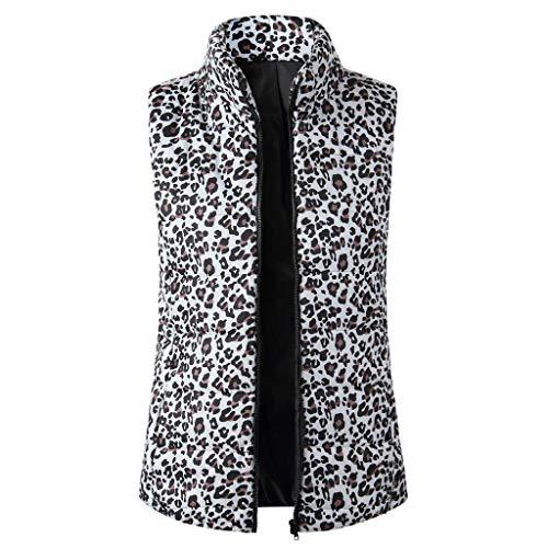 Find Discount Pumsun Women's Casual Leopard Cotton Zip up Vest Jacket Warm Cardigan Waistcoat Outerwear with Pockets (XL, Khaki)