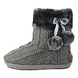 AIREE FAIREE Zapatillas de Casa para Mujer Pantuflas Mujer Invierno Casa con Bordes del Tejido de Punto y Pompons