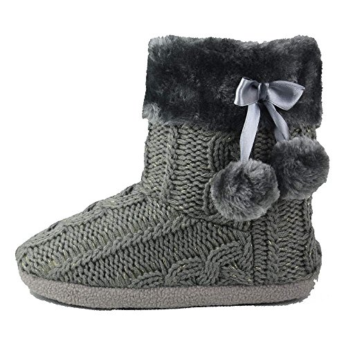 Hausschuhe Damen Pantoffeln Stiefel Schuhe mit weichen Pom Poms Slippers Airee Fairee, Gr. EU 40-41/Large, Grau