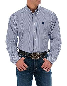Cinch Men s Classic Fit Long Sleeve Button One Open Pocket Stripe Shirt XXXL Royal Blue 3XL