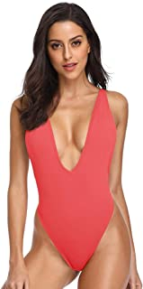 Women's Sexy Deep V-Neck One Piece Bathing Suit Plunge Side Scoop Swimsuit Monokini