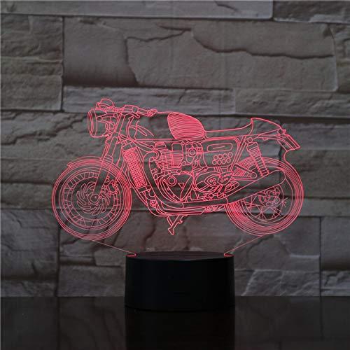 3D motorfiets nacht licht Illusie Lamp 7 kleur veranderen, met afstandsbediening met USB-kabel voor Kerstmis Verjaardag Kindergeschenken, Slaapkamer Decoratie, Office Decoratie
