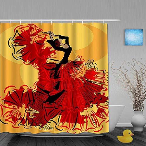 NA Cortina de Ducha Decorativa Mujer Bailarina española en Cortinas de baño Rojas Juego de decoración de baño de Tela Impermeable con Ganchos