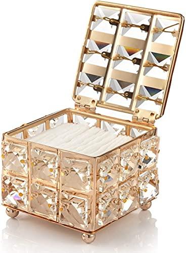 Recet Schmuckschatulle Kristall Kosmetischer Aufbewahrungsbehälter, Kleine Kosmetikbox mit Deckel für Wattepadspender & Wattestäbchen Halter (A)