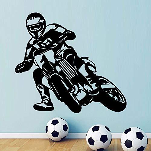HNXDP Motorrad Autorennen Wanddekor Motocross Bike Sport Jungen Vinyl Wandtattoo Für Teenager Schlafzimmer Aufkleber Hellgrün 63x57 cm