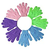 kuou 4 Pairs Exfoliating Gloves, Shower Body Gloves, Double Sided Scrubbing Bath Gloves, 4 Colors