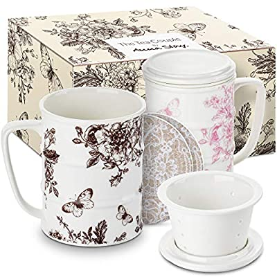 The Tea Couple Tea Infuser Mug (Set of 2) 14 oz.Vintage Porcelain Tea Cups with Ultra-Fine Mesh for Steeping - 2 ,Non-Slip Drink Coasters - Reusable Home & Office Drinkware (Vintage Butterfly)