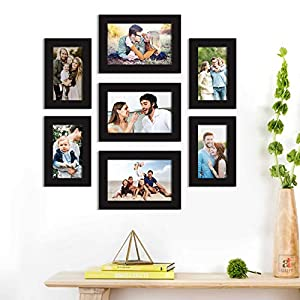 Art Street Synthetic Wood Best Wall Photo Picture Frame for Home Decor with Hanging Accessories (Size-4x6, 5x7 inches, Black), Set of 7 (ASPWT22548)