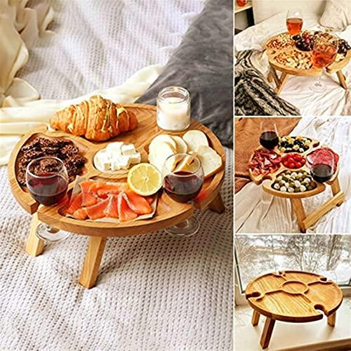 Mesa de picnic plegable al aire libre de madera con soporte de vidrio, portátil 2 en 1 mesa de picnic, mesa de vino plegable de playa portátil con soporte de botella, mesa plegable creativa para al ai