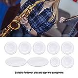 Saxofón Botón Incrustaciones, 9 Pcs/Set Saxofón Botones Clave Incrustaciones Exquisita Concha de Perla Blanca Botón de Incrustación de Teclas para Soprano Alto Tenor Saxofón Sax