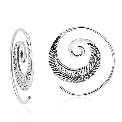 Feather Nature Branch Sterling Silver Spiral Slide Hoop Earrings