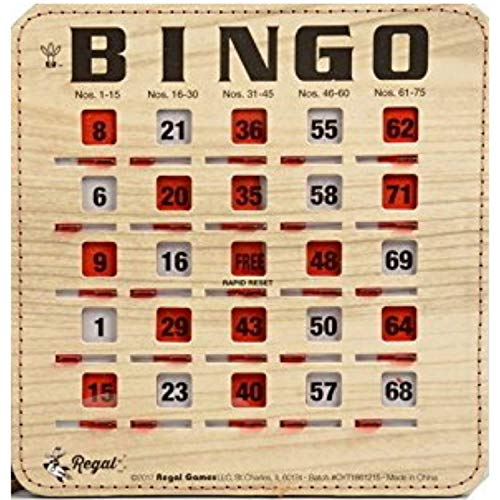 Regal Games Extra Thick Stitched Woodgrain Quick Clear Rapid Reset Shutter Bingo Cards with Jumbo Easy Read Tabs (25-Pack)