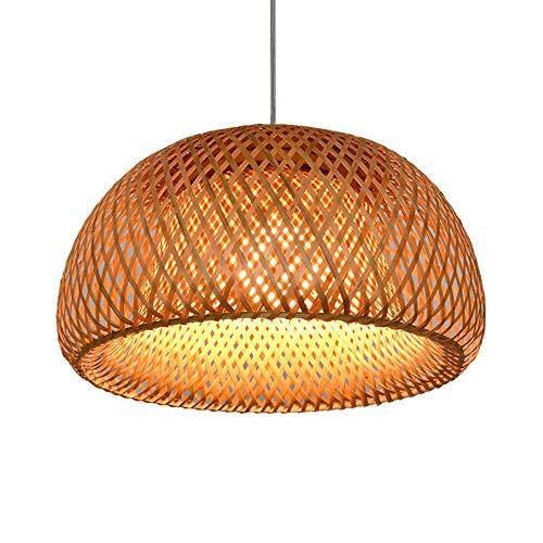 Landhausstil Hängeleuchte Rattan Handgewebt Pendelleuchte Runde Bambus Lampenschirm Wohnzimmer Schlafzimmer Deckenleuchte Retro Kronleuchter Esszimmer Küche Hängend Decke Lampe,30cm