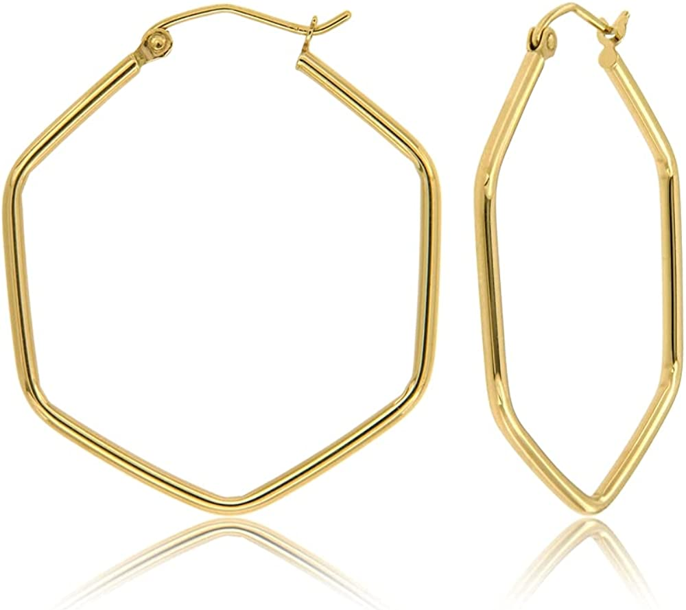 14K Super sale period limited Max 61% OFF Gold Geometric Shaped 2mm Thick Hoop Earrings